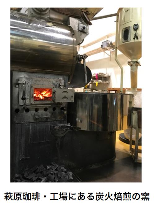 萩原珈琲・工場にある炭火焙煎の窯