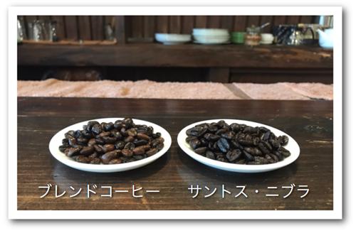 ブレンドコーヒーとサントス・ニブラの豆