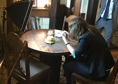 芦屋のカフェ・スフレケーキの撮影